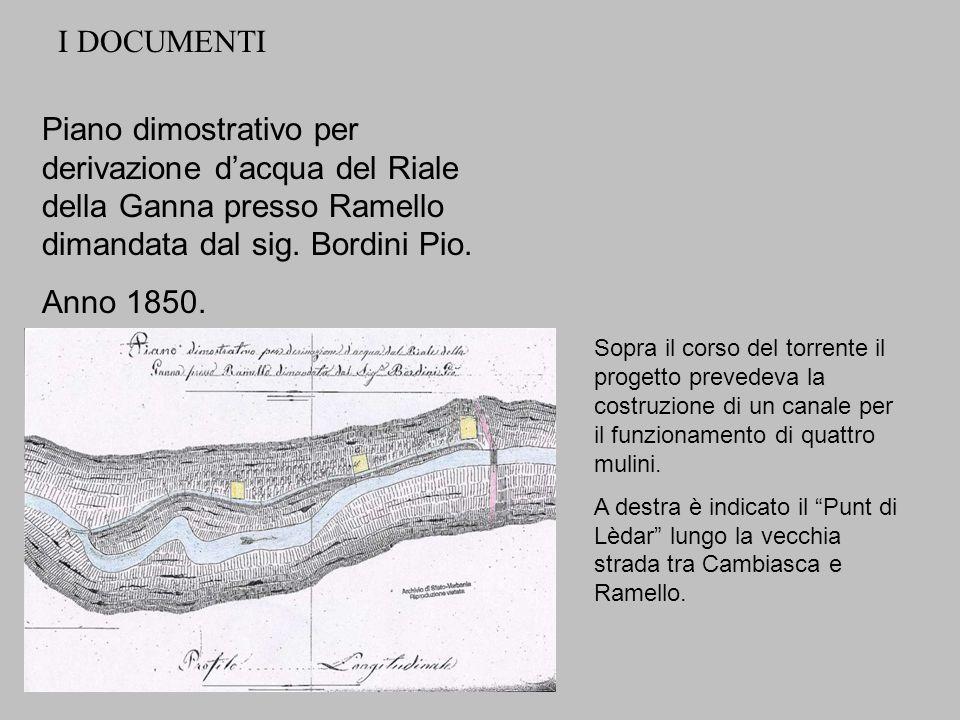 Piano dimostrativo per derivazione dacqua del Riale della Ganna presso Ramello dimandata dal sig. Bordini Pio. Anno 1850. I DOCUMENTI Sopra il corso d