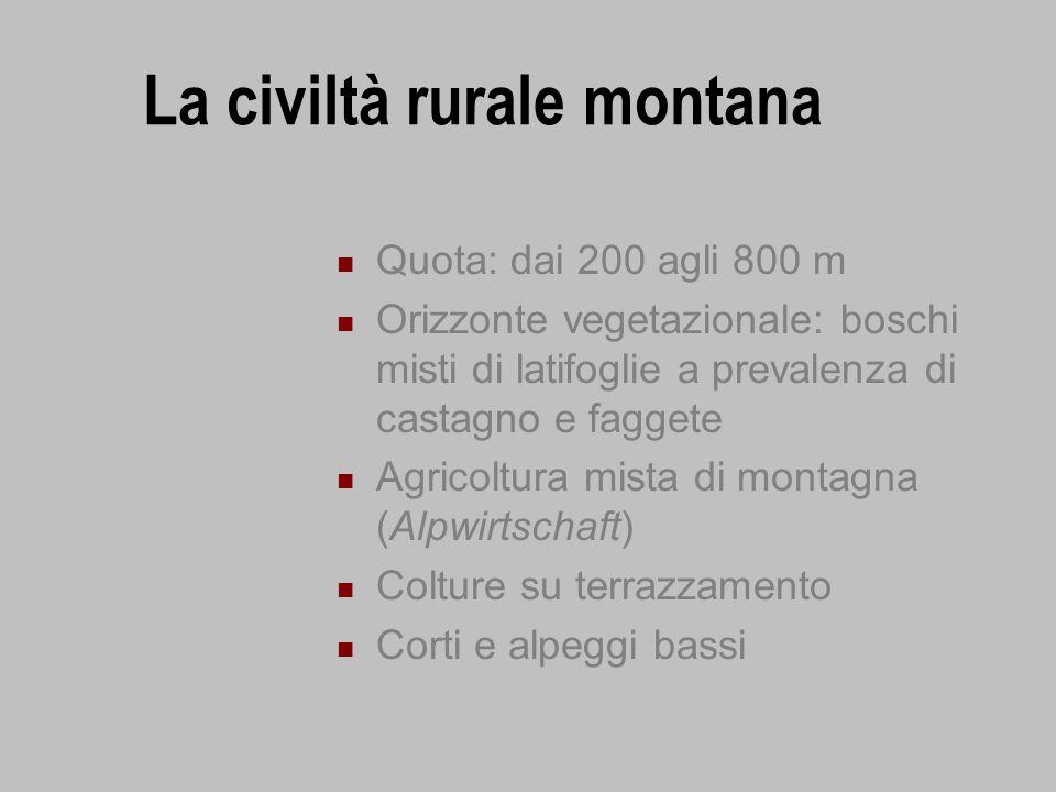 La civiltà rurale montana Quota: dai 200 agli 800 m Orizzonte vegetazionale: boschi misti di latifoglie a prevalenza di castagno e faggete Agricoltura