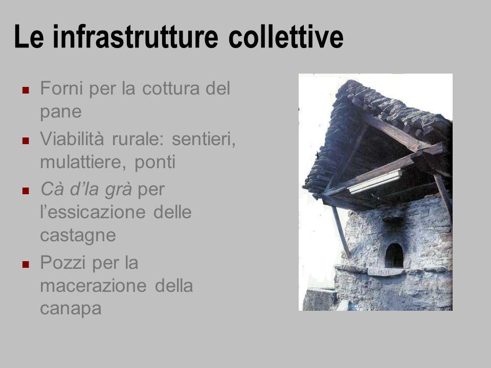 Le infrastrutture collettive Forni per la cottura del pane Viabilità rurale: sentieri, mulattiere, ponti Cà dla grà per lessicazione delle castagne Po