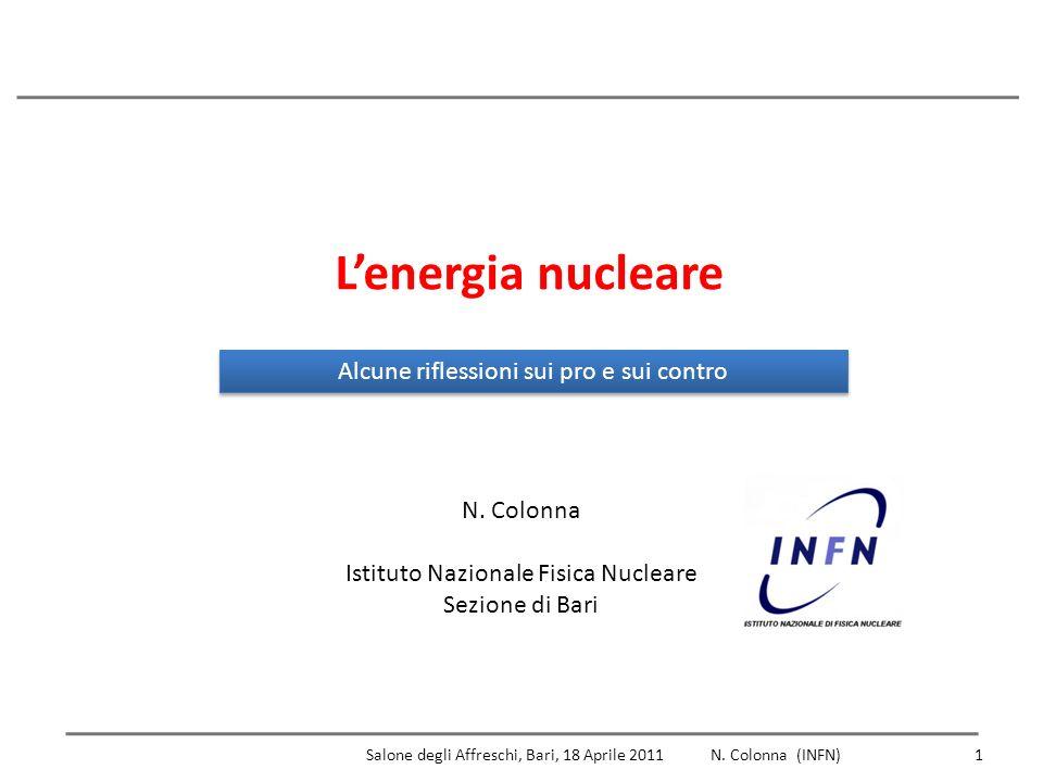 1 Lenergia nucleare Alcune riflessioni sui pro e sui contro N.