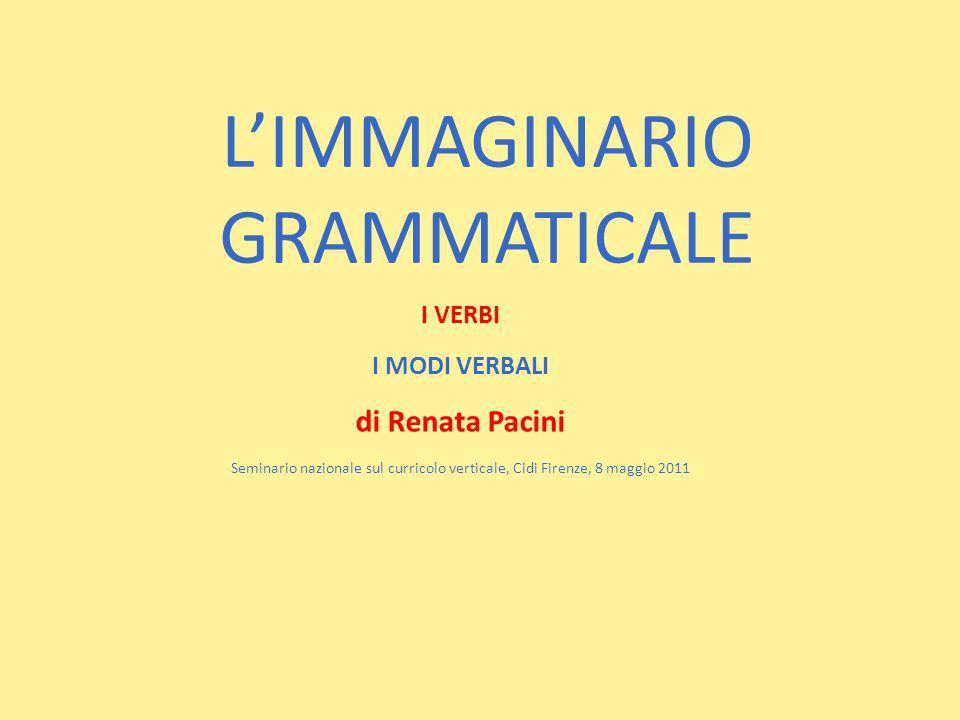 LIMMAGINARIO GRAMMATICALE I VERBI I MODI VERBALI di Renata Pacini Seminario nazionale sul curricolo verticale, Cidi Firenze, 8 maggio 2011