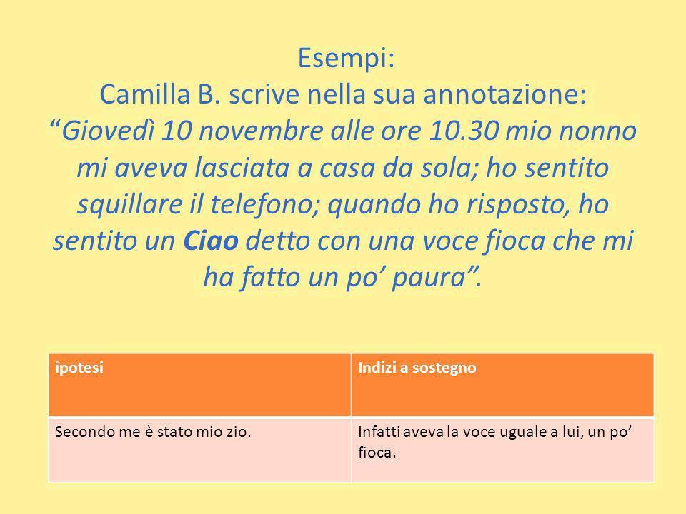 Esempi: Camilla B. scrive nella sua annotazione:Giovedì 10 novembre alle ore 10.30 mio nonno mi aveva lasciata a casa da sola; ho sentito squillare il