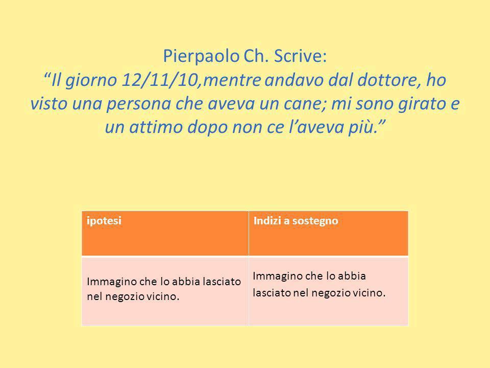 Pierpaolo Ch. Scrive:Il giorno 12/11/10,mentre andavo dal dottore, ho visto una persona che aveva un cane; mi sono girato e un attimo dopo non ce lave