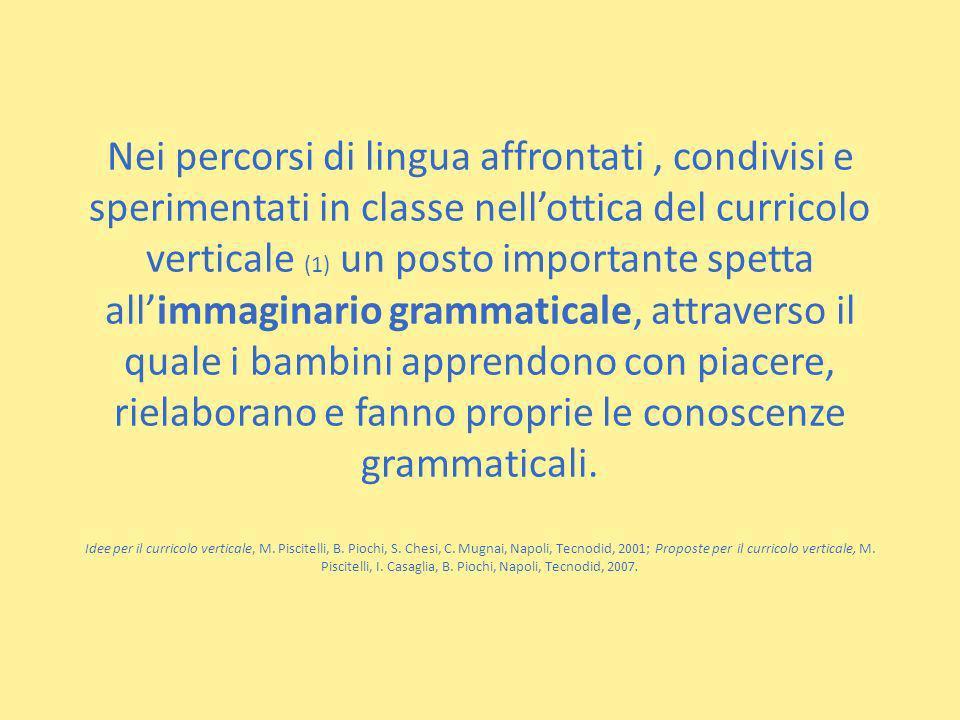Nei percorsi di lingua affrontati, condivisi e sperimentati in classe nellottica del curricolo verticale (1) un posto importante spetta allimmaginario