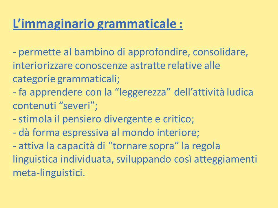 Limmaginario grammaticale : - permette al bambino di approfondire, consolidare, interiorizzare conoscenze astratte relative alle categorie grammatical