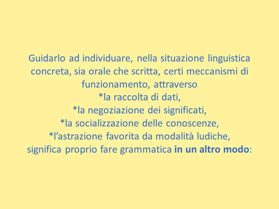 Guidarlo ad individuare, nella situazione linguistica concreta, sia orale che scritta, certi meccanismi di funzionamento, attraverso *la raccolta di d