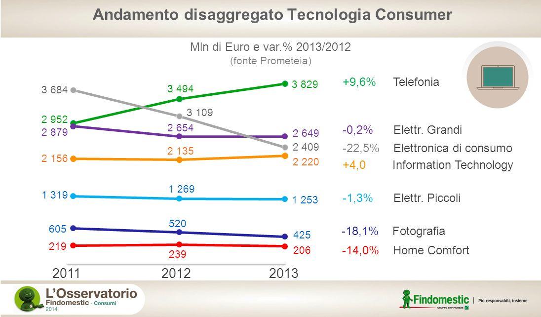 +9,6% Telefonia -22,5% Elettronica di consumo -0,2% Elettr. Grandi +4,0 Information Technology -1,3% Elettr. Piccoli -18,1% Fotografia -14,0% Home Com