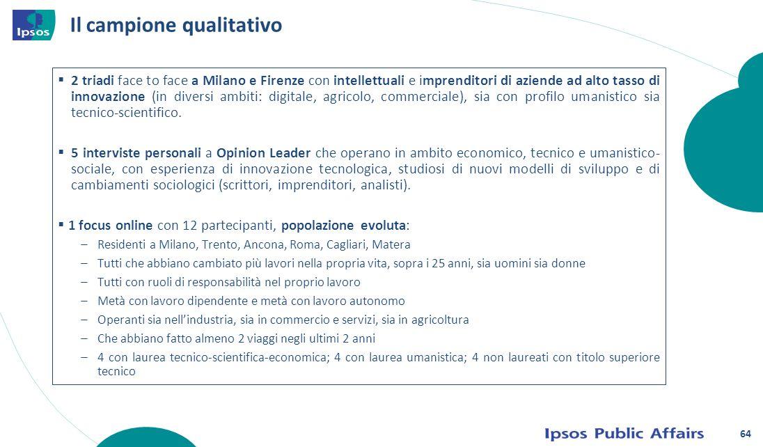 64 Il campione qualitativo 2 triadi face to face a Milano e Firenze con intellettuali e imprenditori di aziende ad alto tasso di innovazione (in diver