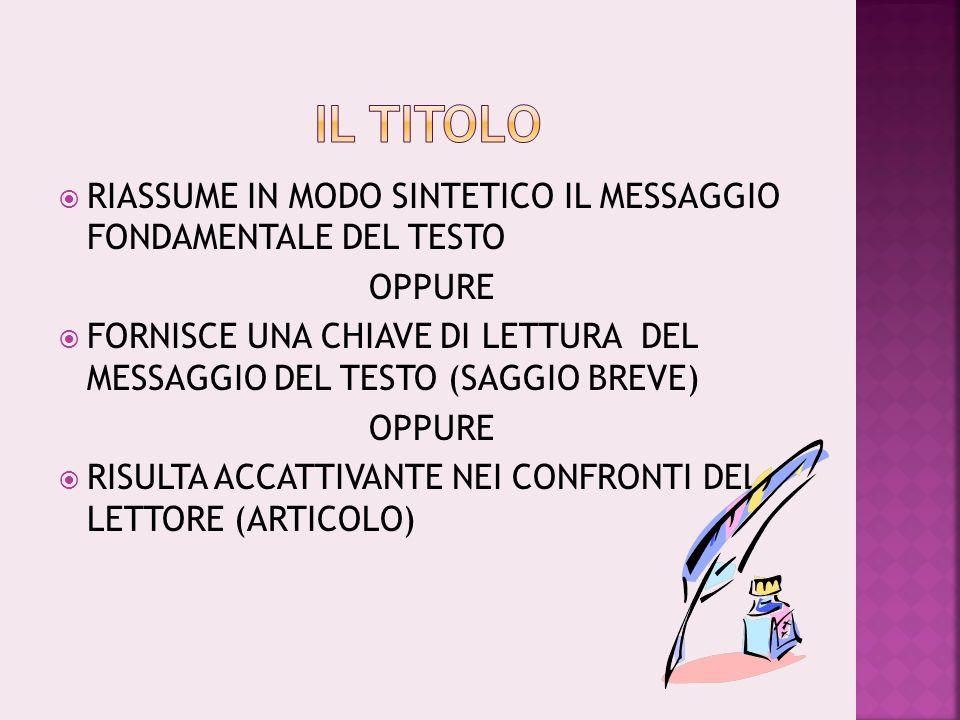RIASSUME IN MODO SINTETICO IL MESSAGGIO FONDAMENTALE DEL TESTO OPPURE FORNISCE UNA CHIAVE DI LETTURA DEL MESSAGGIO DEL TESTO (SAGGIO BREVE) OPPURE RISULTA ACCATTIVANTE NEI CONFRONTI DEL LETTORE (ARTICOLO)