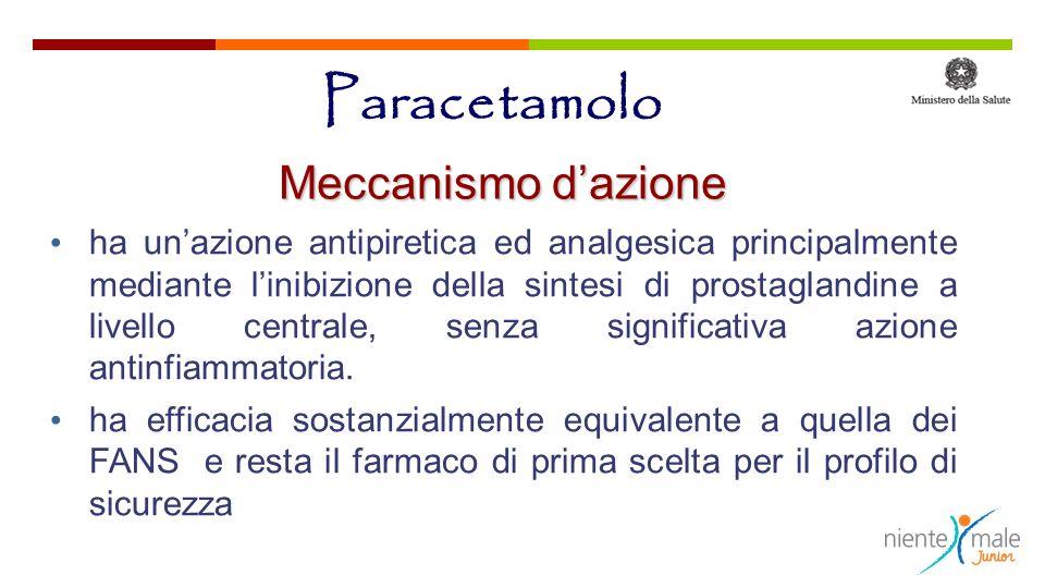 Paracetamolo ha unazione antipiretica ed analgesica principalmente mediante linibizione della sintesi di prostaglandine a livello centrale, senza sign