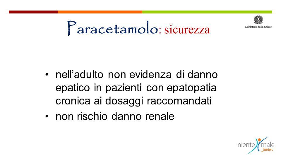 Paracetamolo : sicurezza nelladulto non evidenza di danno epatico in pazienti con epatopatia cronica ai dosaggi raccomandati non rischio danno renale