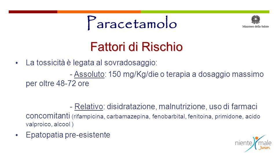 Paracetamolo Fattori di Rischio La tossicità è legata al sovradosaggio: - Assoluto: 150 mg/Kg/die o terapia a dosaggio massimo per oltre 48-72 ore - R