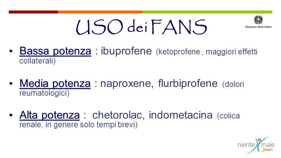 Bassa potenza Bassa potenza : ibuprofene (ketoprofene, maggiori effetti collaterali) Media potenza Media potenza : naproxene, flurbiprofene (dolori re