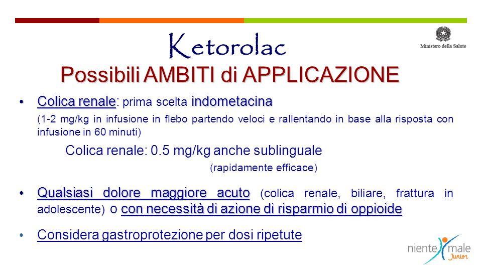 Ketorolac Possibili AMBITI di APPLICAZIONE Colica renaleindometacina Colica renale: prima scelta indometacina (1-2 mg/kg in infusione in flebo partend