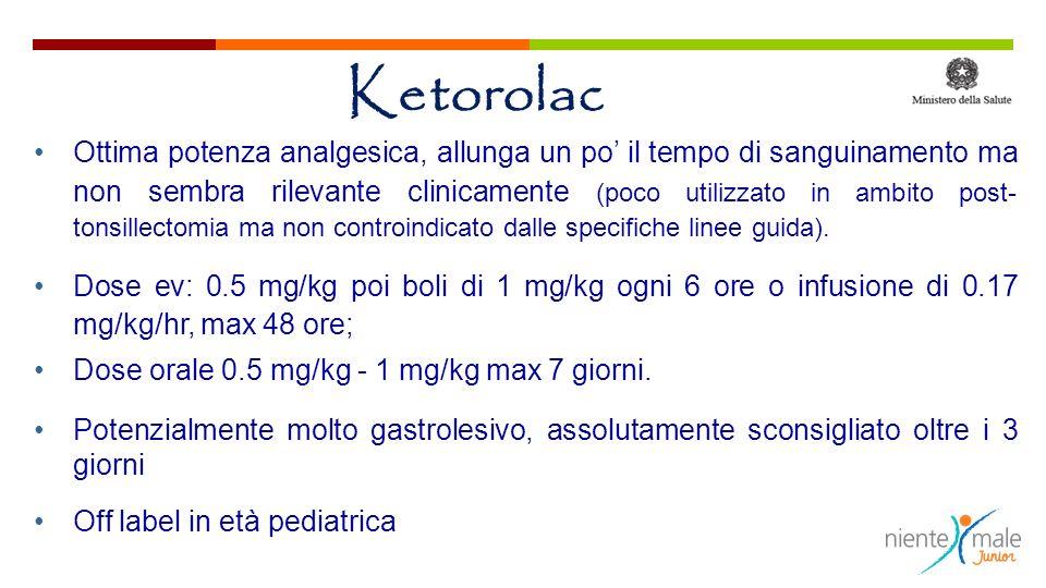 Ketorolac Ottima potenza analgesica, allunga un po il tempo di sanguinamento ma non sembra rilevante clinicamente (poco utilizzato in ambito post- ton