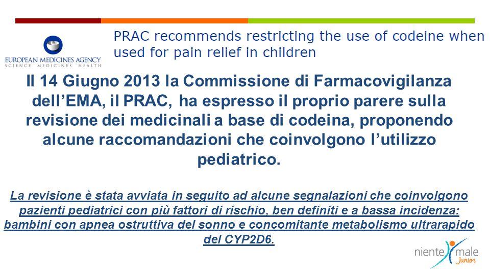 Il 14 Giugno 2013 la Commissione di Farmacovigilanza dellEMA, il PRAC, ha espresso il proprio parere sulla revisione dei medicinali a base di codeina,