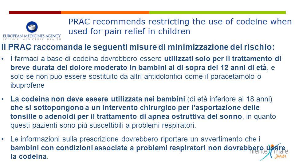 Il PRAC raccomanda le seguenti misure di minimizzazione del rischio: I farmaci a base di codeina dovrebbero essere utilizzati solo per il trattamento