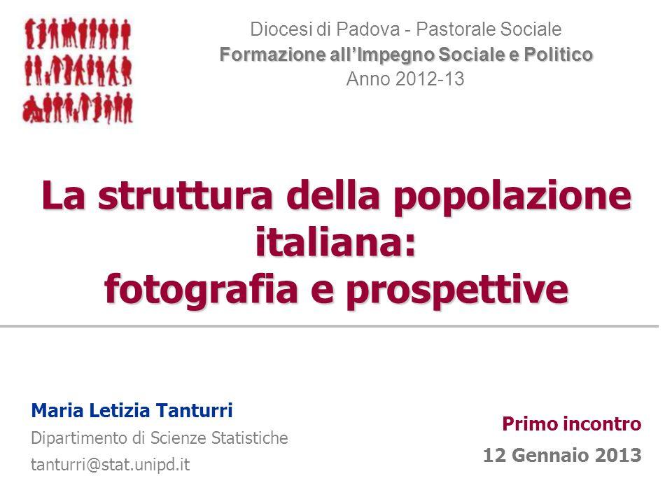 La struttura della popolazione italiana: fotografia e prospettive Diocesi di Padova - Pastorale Sociale Formazione allImpegno Sociale e Politico Anno
