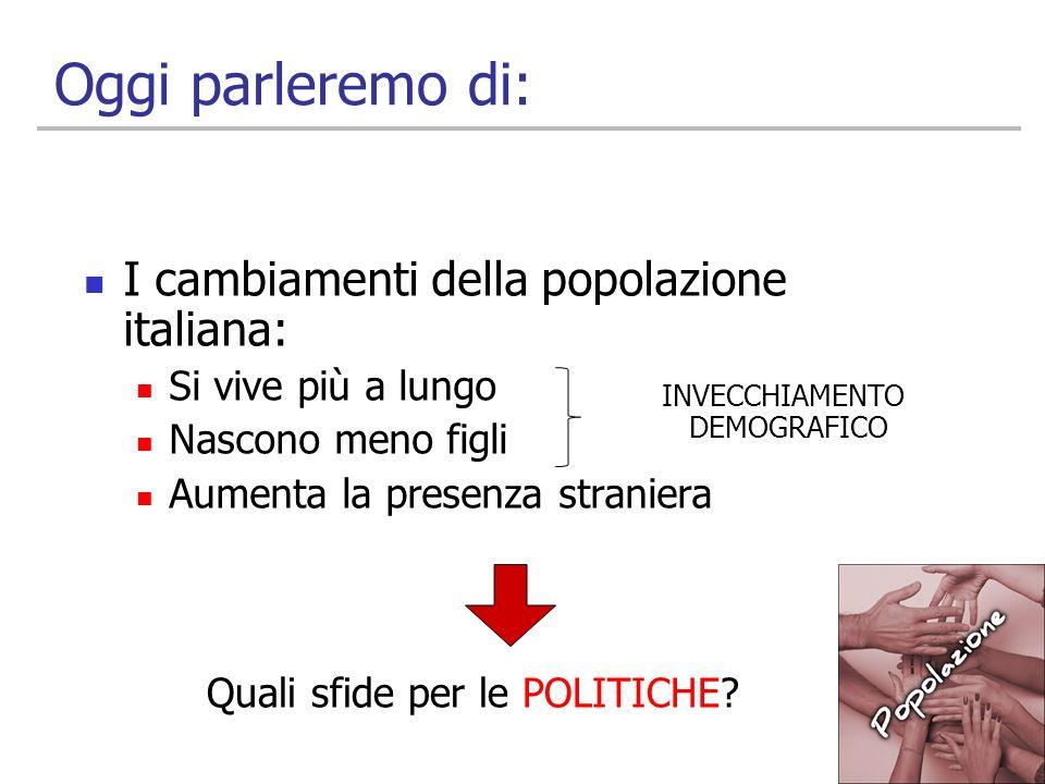 2 Oggi parleremo di: I cambiamenti della popolazione italiana: Si vive più a lungo Nascono meno figli Aumenta la presenza straniera INVECCHIAMENTO DEM