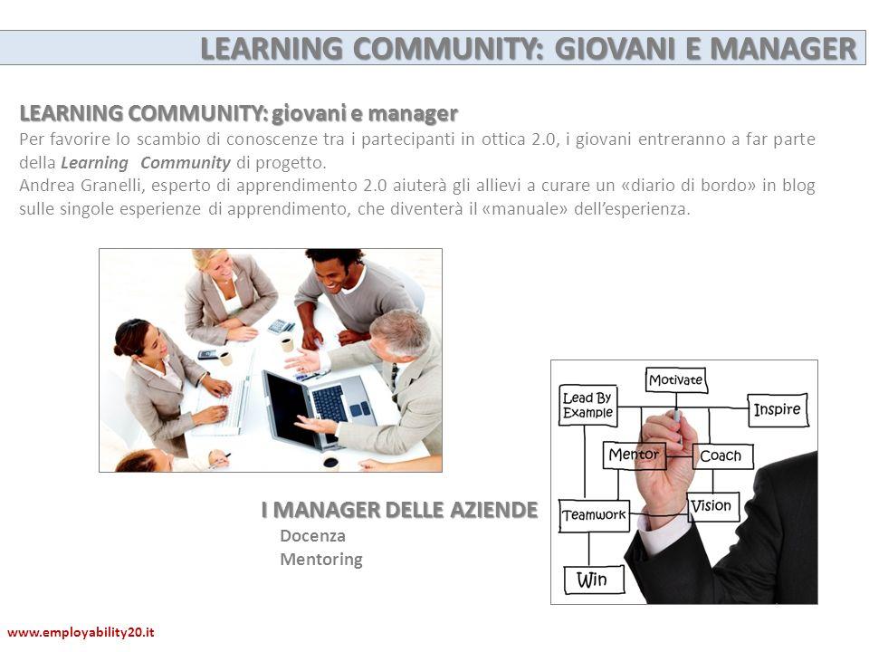 LEARNING COMMUNITY: giovani e manager Per favorire lo scambio di conoscenze tra i partecipanti in ottica 2.0, i giovani entreranno a far parte della L