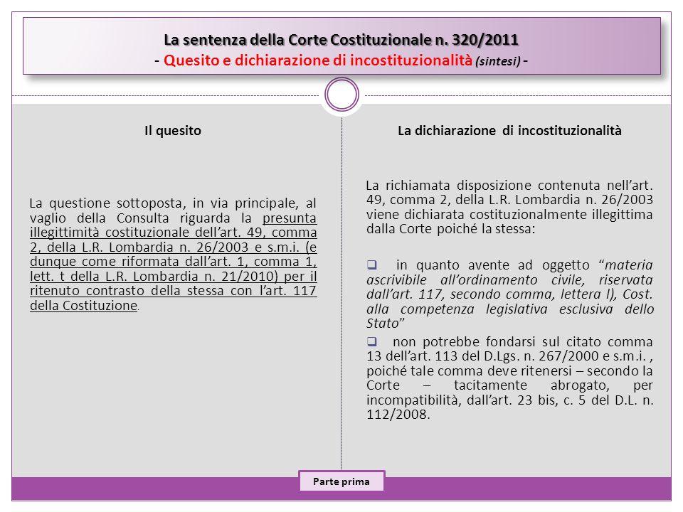 La sentenza della Corte Costituzionale n. 320/2011 La sentenza della Corte Costituzionale n. 320/2011 - Quesito e dichiarazione di incostituzionalità