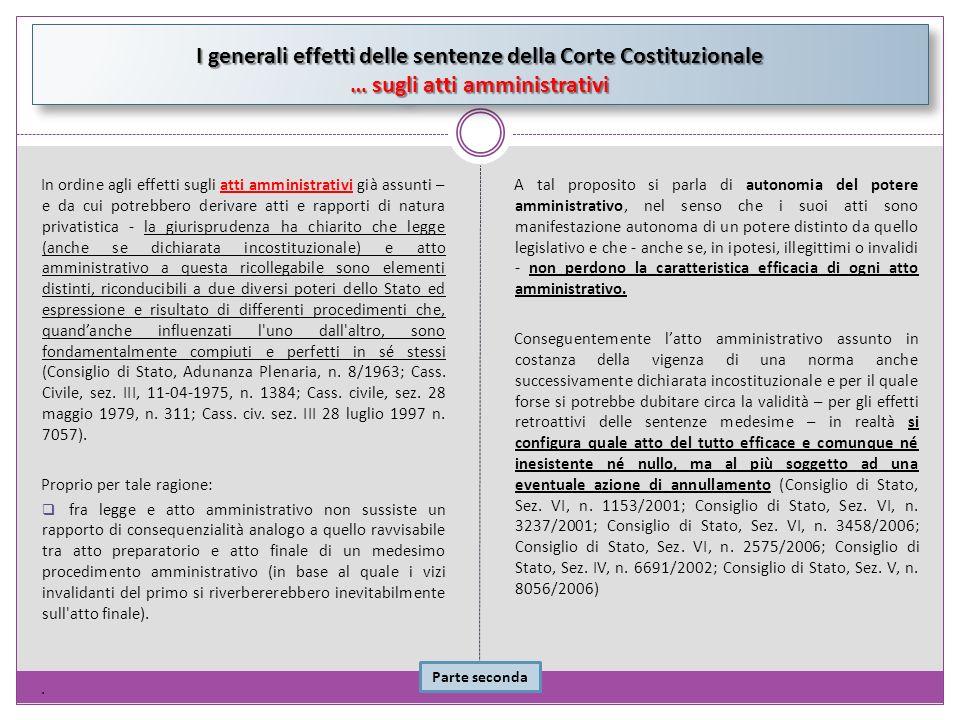 In ordine agli effetti sugli atti amministrativi già assunti – e da cui potrebbero derivare atti e rapporti di natura privatistica - la giurisprudenza