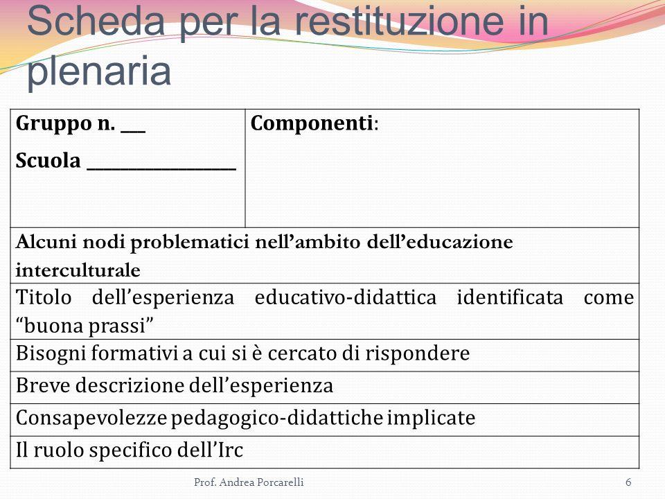 Scheda per la restituzione in plenaria Prof. Andrea Porcarelli6 Gruppo n.