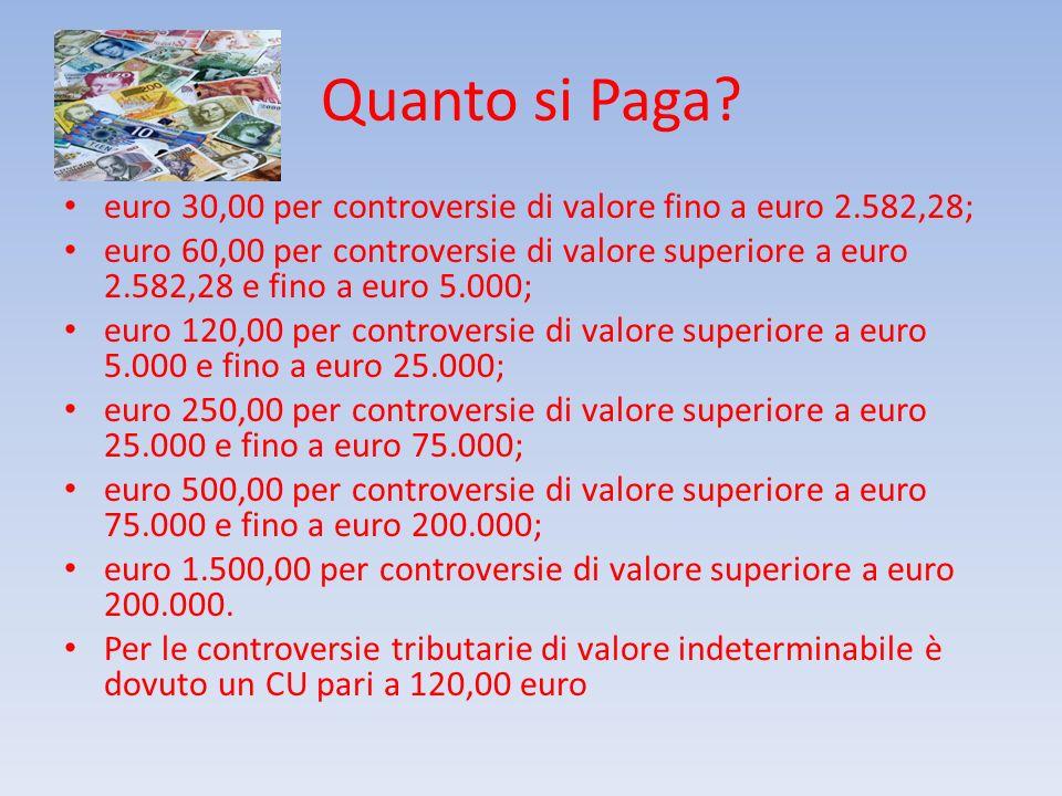 Quanto si Paga? euro 30,00 per controversie di valore fino a euro 2.582,28; euro 60,00 per controversie di valore superiore a euro 2.582,28 e fino a e