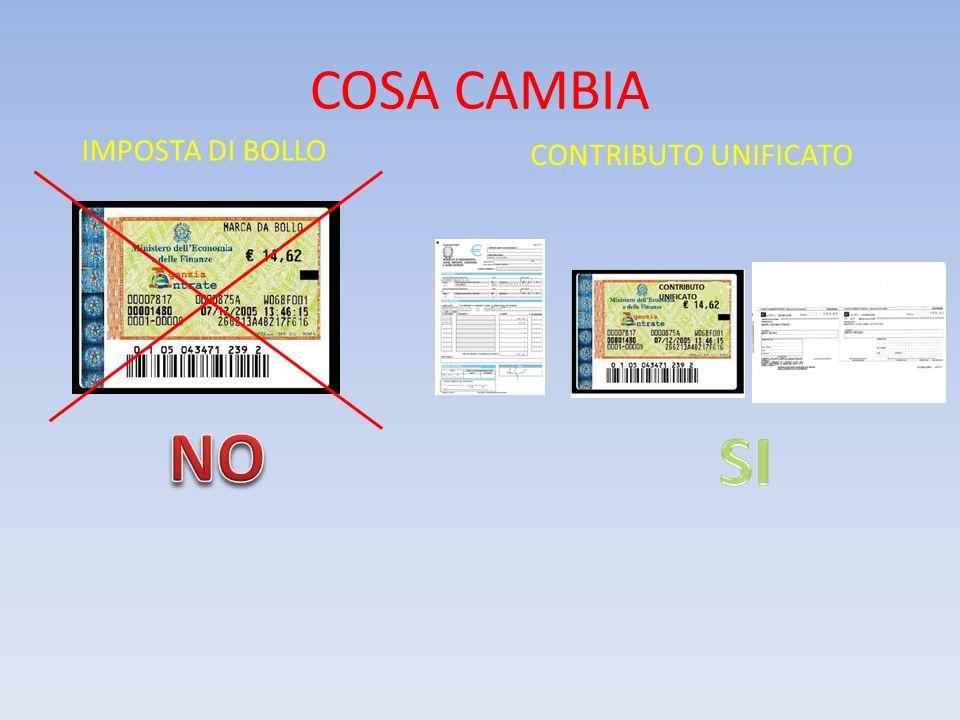 COSA CAMBIA IMPOSTA DI BOLLO CONTRIBUTO UNIFICATO