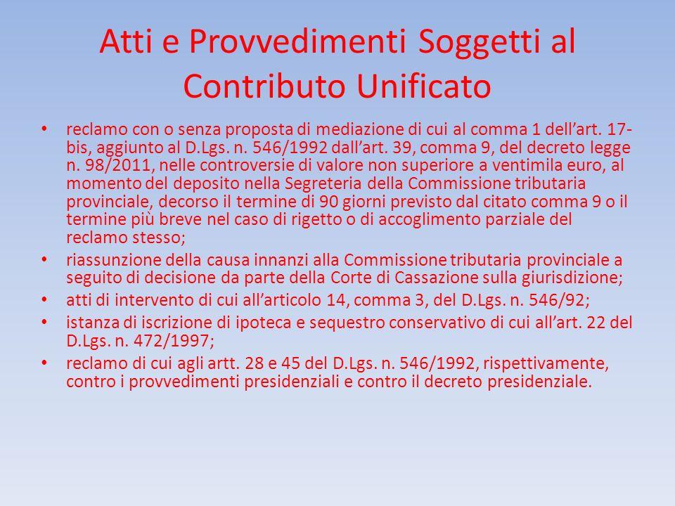 Atti e Provvedimenti Soggetti al Contributo Unificato reclamo con o senza proposta di mediazione di cui al comma 1 dellart. 17- bis, aggiunto al D.Lgs