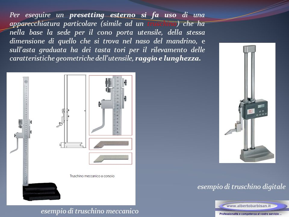 Per eseguire un presetting esterno si fa uso di una apparecchiatura particolare (simile ad un truschino) che ha nella base la sede per il cono porta u