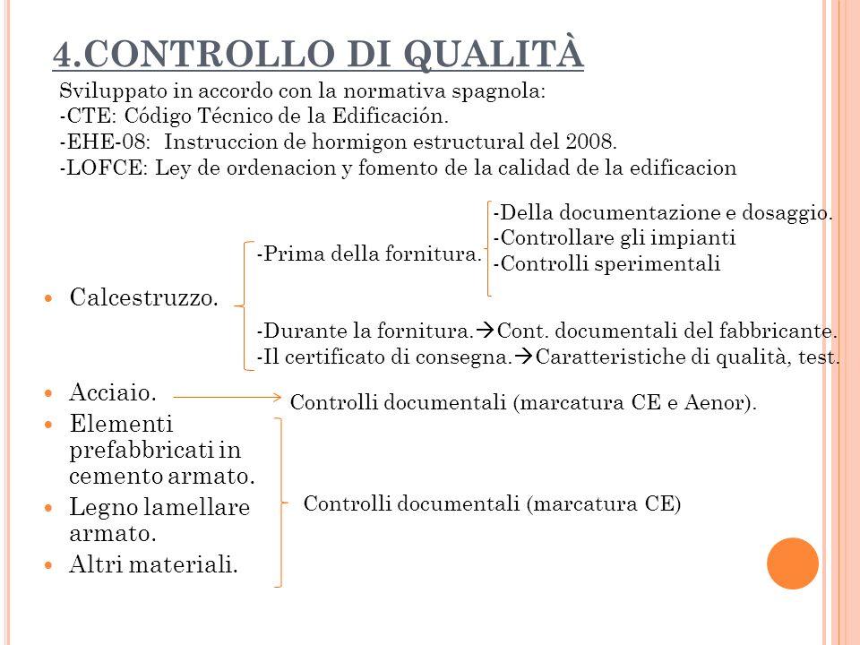 4.CONTROLLO DI QUALITÀ Calcestruzzo. Acciaio. Elementi prefabbricati in cemento armato. Legno lamellare armato. Altri materiali. Sviluppato in accordo