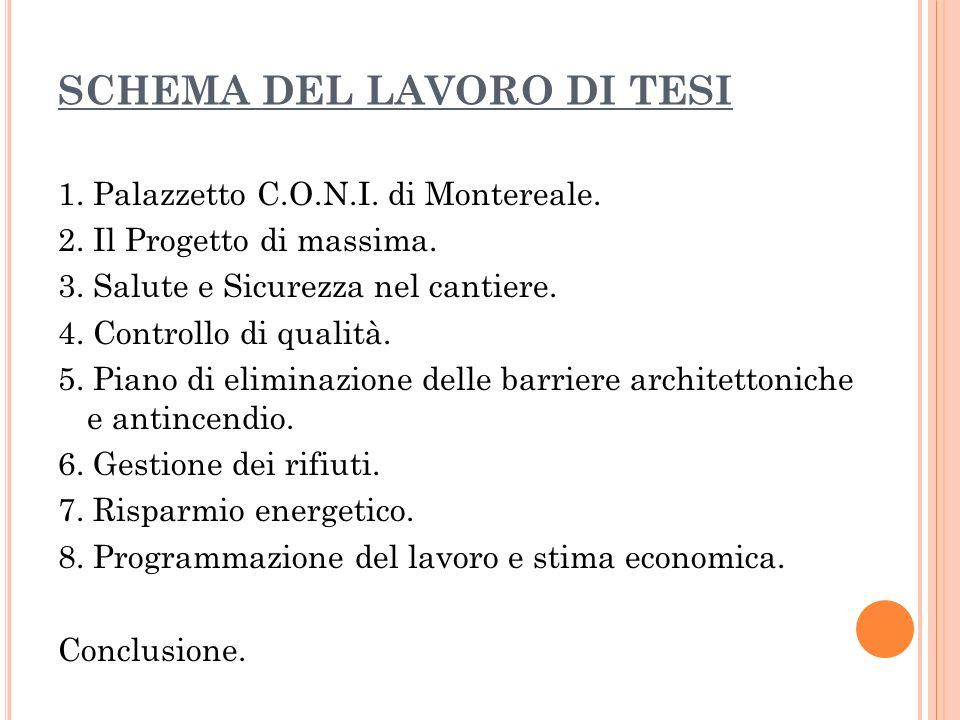 SCHEMA DEL LAVORO DI TESI 1. Palazzetto C.O.N.I. di Montereale.