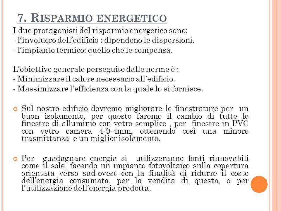 7. R ISPARMIO ENERGETICO I due protagonisti del risparmio energetico sono: - linvolucro delledificio : dipendono le dispersioni. - limpianto termico:
