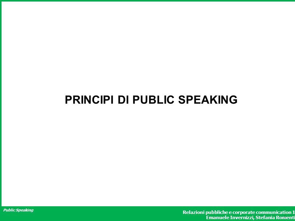 Public Speaking Relazioni pubbliche e corporate communication 1 Emanuele Invernizzi, Stefania Romenti PRINCIPI DI PUBLIC SPEAKING 1