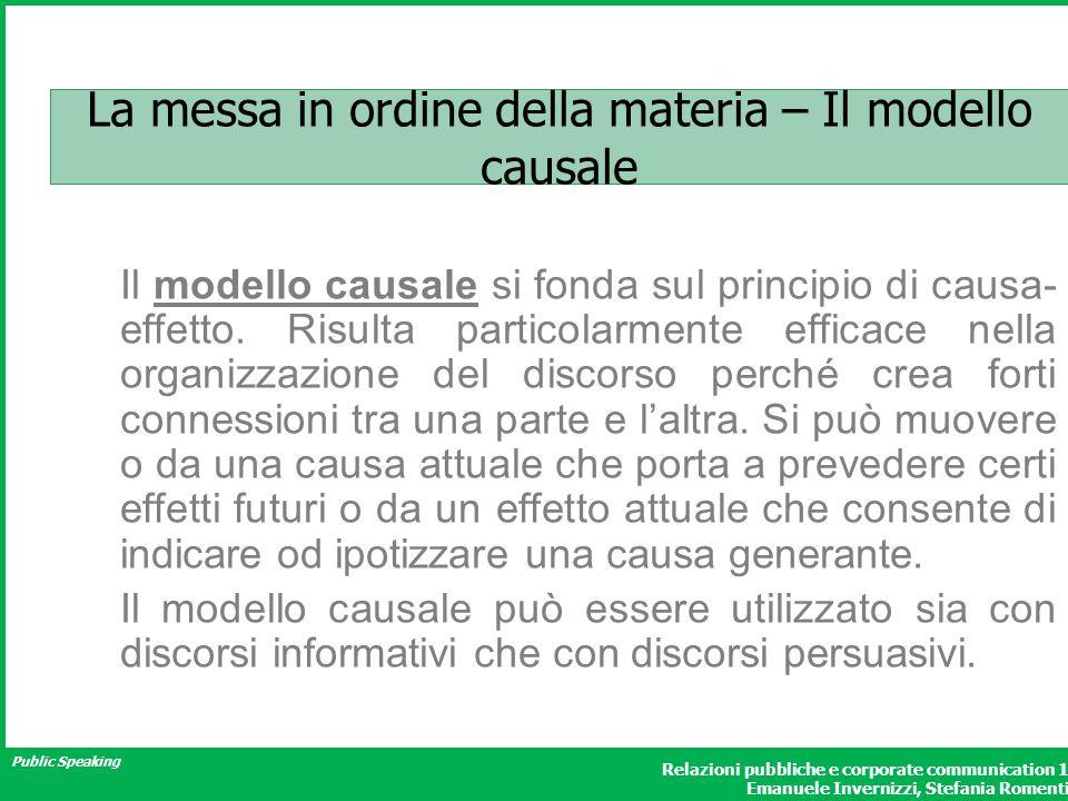 Public Speaking Relazioni pubbliche e corporate communication 1 Emanuele Invernizzi, Stefania Romenti La messa in ordine della materia – Il modello causale Il modello causale si fonda sul principio di causa- effetto.
