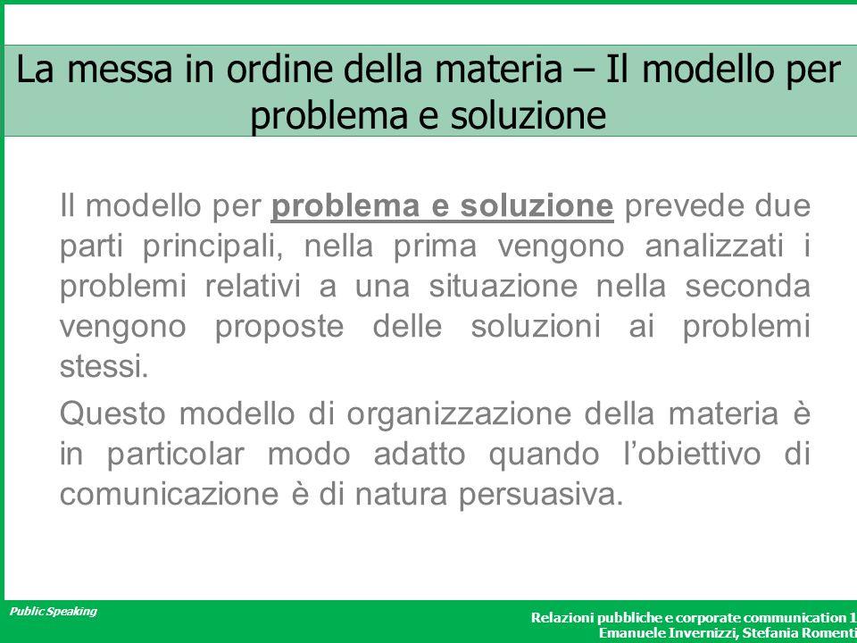 Public Speaking Relazioni pubbliche e corporate communication 1 Emanuele Invernizzi, Stefania Romenti La messa in ordine della materia – Il modello pe