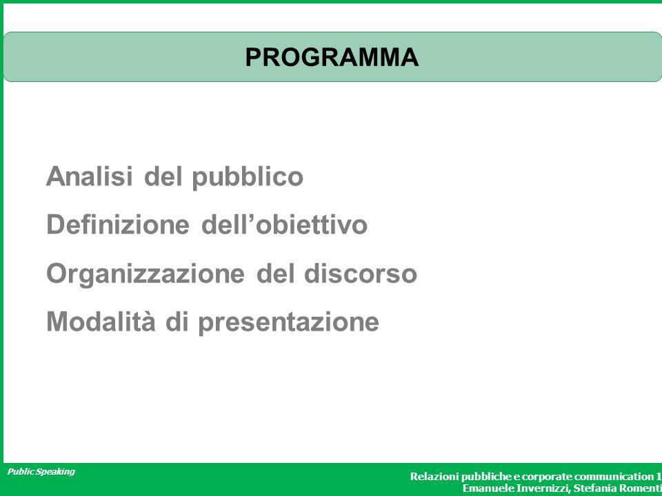Public Speaking Relazioni pubbliche e corporate communication 1 Emanuele Invernizzi, Stefania Romenti PROGRAMMA Analisi del pubblico Definizione dellobiettivo Organizzazione del discorso Modalità di presentazione