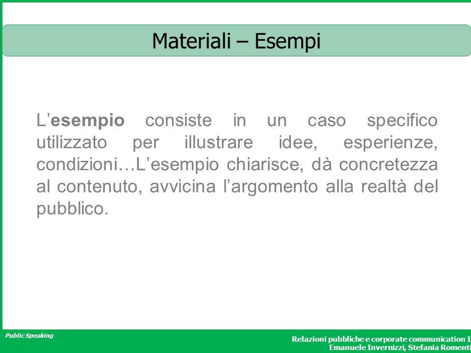 Public Speaking Relazioni pubbliche e corporate communication 1 Emanuele Invernizzi, Stefania Romenti Materiali – Esempi Lesempio consiste in un caso