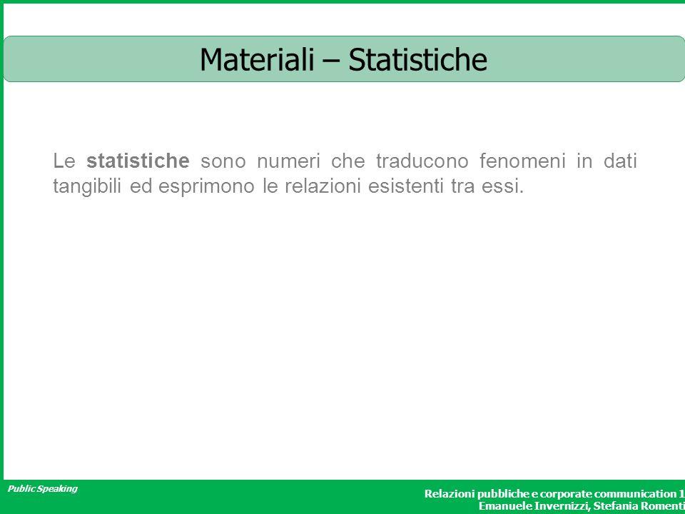 Public Speaking Relazioni pubbliche e corporate communication 1 Emanuele Invernizzi, Stefania Romenti Materiali – Statistiche Le statistiche sono nume