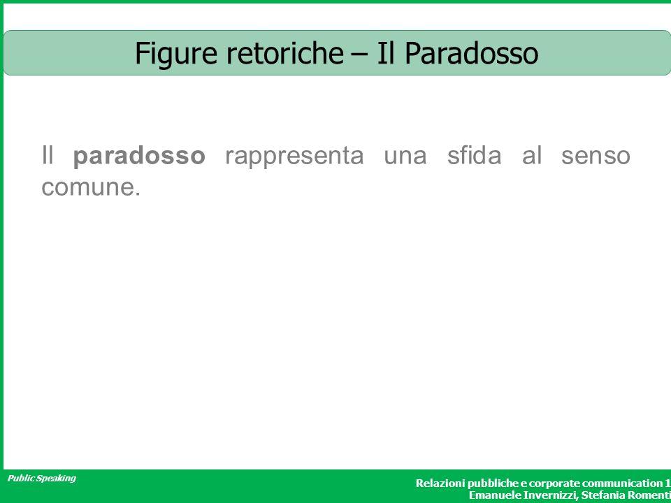 Public Speaking Relazioni pubbliche e corporate communication 1 Emanuele Invernizzi, Stefania Romenti Figure retoriche – Il Paradosso Il paradosso rap