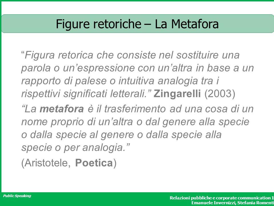 Public Speaking Relazioni pubbliche e corporate communication 1 Emanuele Invernizzi, Stefania Romenti Figure retoriche – La Metafora Figura retorica c