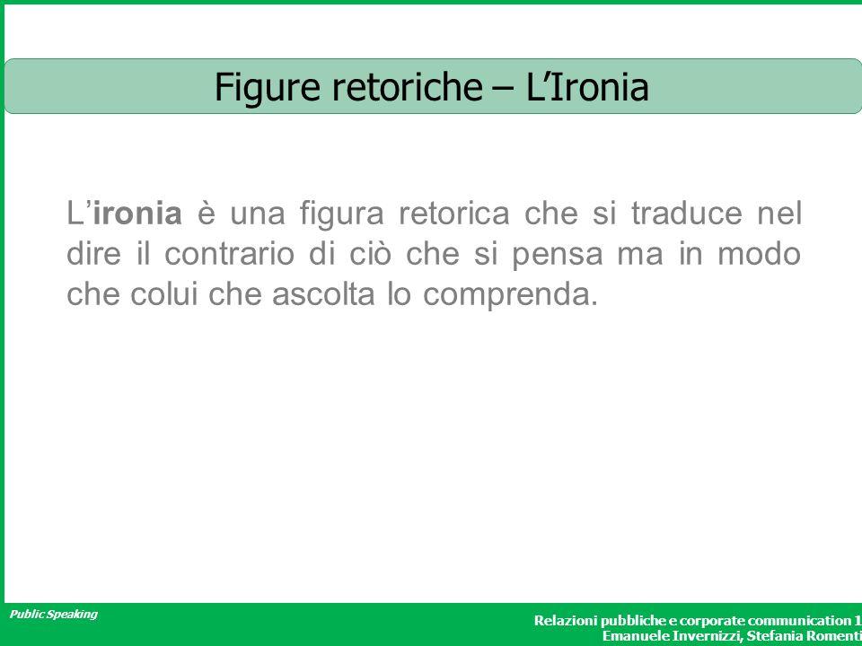 Public Speaking Relazioni pubbliche e corporate communication 1 Emanuele Invernizzi, Stefania Romenti Figure retoriche – LIronia Lironia è una figura