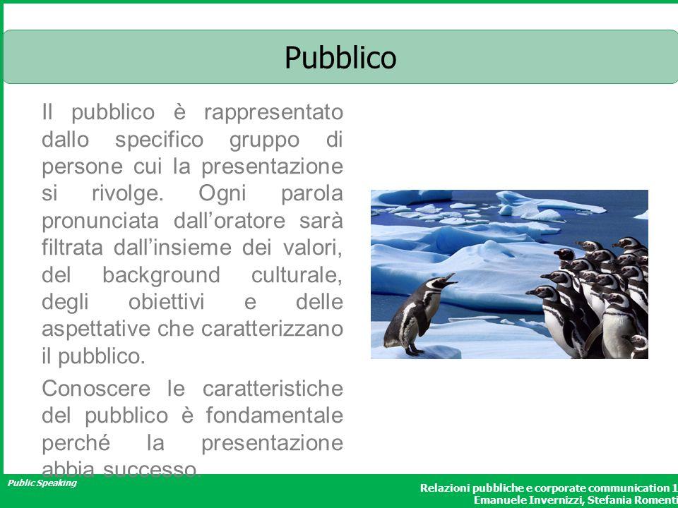 Public Speaking Relazioni pubbliche e corporate communication 1 Emanuele Invernizzi, Stefania Romenti Il pubblico è rappresentato dallo specifico gruppo di persone cui la presentazione si rivolge.