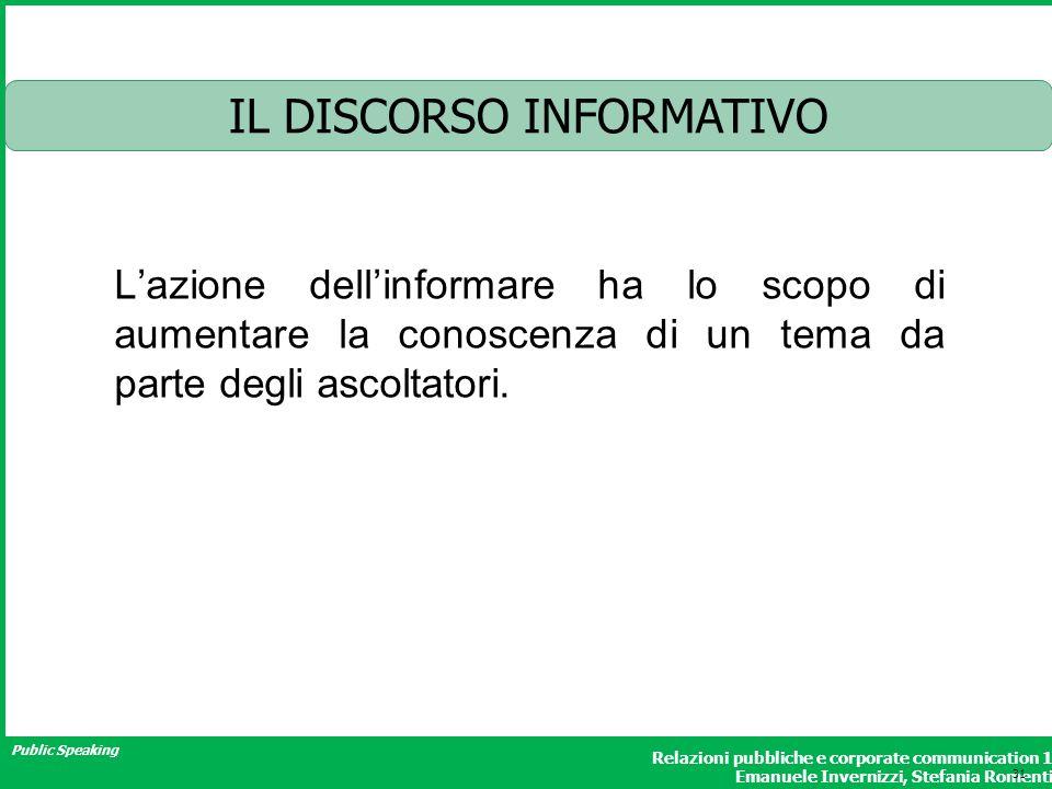 Public Speaking Relazioni pubbliche e corporate communication 1 Emanuele Invernizzi, Stefania Romenti IL DISCORSO INFORMATIVO Lazione dellinformare ha