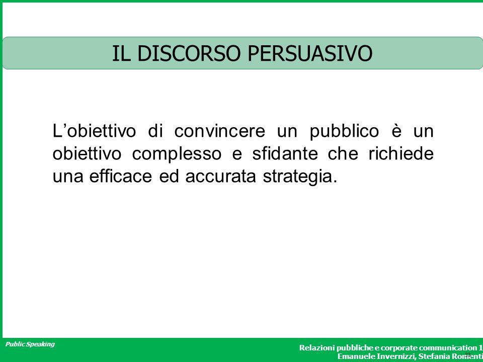 Public Speaking Relazioni pubbliche e corporate communication 1 Emanuele Invernizzi, Stefania Romenti IL DISCORSO PERSUASIVO Lobiettivo di convincere