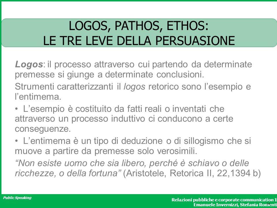 Public Speaking Relazioni pubbliche e corporate communication 1 Emanuele Invernizzi, Stefania Romenti LOGOS, PATHOS, ETHOS: LE TRE LEVE DELLA PERSUASI