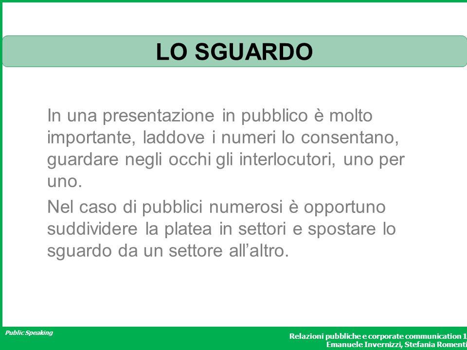 Public Speaking Relazioni pubbliche e corporate communication 1 Emanuele Invernizzi, Stefania Romenti LO SGUARDO In una presentazione in pubblico è mo