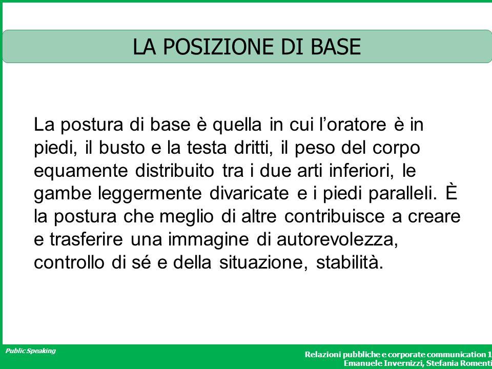 Public Speaking Relazioni pubbliche e corporate communication 1 Emanuele Invernizzi, Stefania Romenti LA POSIZIONE DI BASE La postura di base è quella