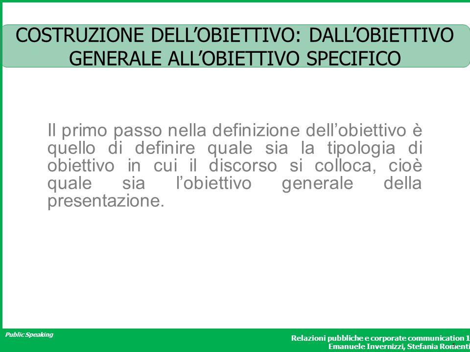 Public Speaking Relazioni pubbliche e corporate communication 1 Emanuele Invernizzi, Stefania Romenti COSTRUZIONE DELLOBIETTIVO: DALLOBIETTIVO GENERAL